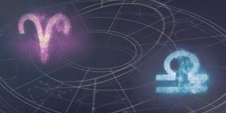 Συμβατότητα σημαδιών ωροσκοπίων Aries και Libra Νυχτερινός ουρανός Abstrac Στοκ Φωτογραφία