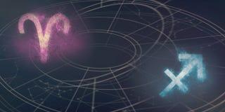 Συμβατότητα σημαδιών ωροσκοπίων Aries και Sagittarius Νυχτερινός ουρανός Α Στοκ Φωτογραφίες