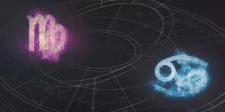 Συμβατότητα σημαδιών ωροσκοπίων Virgo και καρκίνου Νυχτερινός ουρανός Abstra Στοκ Εικόνες