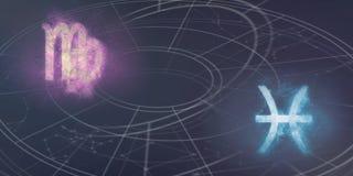 Συμβατότητα σημαδιών ωροσκοπίων Virgo και Pisces Νυχτερινός ουρανός Abstra Στοκ εικόνα με δικαίωμα ελεύθερης χρήσης