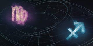Συμβατότητα σημαδιών ωροσκοπίων Virgo και Sagittarius Νυχτερινός ουρανός Α Στοκ Εικόνες