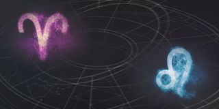 Συμβατότητα σημαδιών Aries και ωροσκοπίων του Leo Περίληψη νυχτερινού ουρανού Στοκ Φωτογραφία