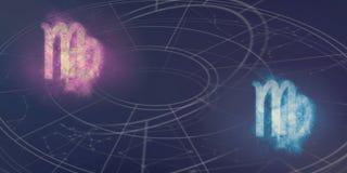 Συμβατότητα σημαδιών Virgo και ωροσκοπίων Virgo Νυχτερινός ουρανός Abstrac Στοκ Εικόνα