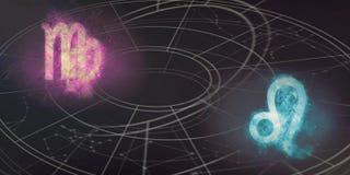 Συμβατότητα σημαδιών Virgo και ωροσκοπίων του Leo Περίληψη νυχτερινού ουρανού Στοκ Φωτογραφία