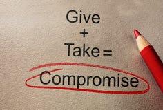 Συμβιβασμός αμοιβαίας παραχώρησης στοκ εικόνα με δικαίωμα ελεύθερης χρήσης
