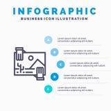 Συμβολή, διανομή, μέρισμα, εικόνα, εικονίδιο γραμμών φωτογραφιών με το υπόβαθρο infographics παρουσίασης 5 βημάτων απεικόνιση αποθεμάτων