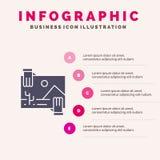 Συμβολή, διανομή, μέρισμα, εικόνα, στερεό εικονίδιο Infographics 5 φωτογραφιών υπόβαθρο παρουσίασης βημάτων διανυσματική απεικόνιση