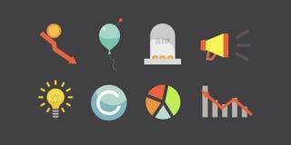 Συμβολικά εικονίδια απεικόνισης και blockchain τεχνολογίας ICO διανυσματικά Στοκ εικόνα με δικαίωμα ελεύθερης χρήσης