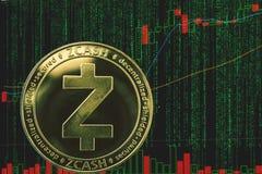 Συμβολικό cryptocurrency zec zcash στο υπόβαθρο του δυαδικών crypto κειμένου μητρών και του διαγράμματος τιμών στοκ φωτογραφίες