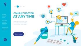 Συμβουλευθείτε το διανυσματικό προσγειωμένος πρότυπο σελίδων γιατρών διανυσματική απεικόνιση