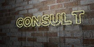 ΣΥΜΒΟΥΛΕΥΘΕΙΤΕ - Καμμένος σημάδι νέου στον τοίχο τοιχοποιιών - τρισδιάστατο δικαίωμα ελεύθερη απεικόνιση αποθεμάτων διανυσματική απεικόνιση