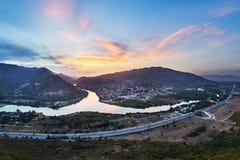Συμβολή των ποταμών Kura και Aragvi στη Γεωργία Στοκ Εικόνες