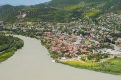 Συμβολή των ποταμών Kura και Aragvi, Mtskheta, Γεωργία Στοκ φωτογραφία με δικαίωμα ελεύθερης χρήσης