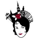 Συμβολική εικόνα της Σεβίλης Γυναίκα που φορά τη χτένα με τα μνημεία της Σεβίλης ελεύθερη απεικόνιση δικαιώματος