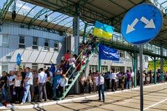 Συμβολική τελετή στα σλοβάκικος-ουκρανικά σύνορα σε έναν θεώρηση-ελεύθερο Στοκ Εικόνες