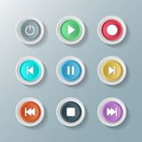 Συμβόλων άσπρα στρογγυλά κουμπιά ελέγχου συσκευών αναπαραγωγής πολυμέσων εικονιδίων καθορισμένα χαρακτηρών κινουμένων σχεδίων πέν Στοκ Εικόνες