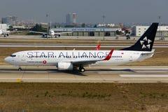 Συμμαχία αστεριών της Turkish Airlines Boeing 737-800 Στοκ εικόνα με δικαίωμα ελεύθερης χρήσης