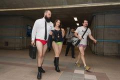 Συμμετέχοντες στον υπόγειο χωρίς εσώρουχα Στοκ εικόνα με δικαίωμα ελεύθερης χρήσης