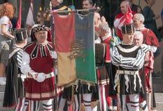 Ιταλικοί μεσαιωνικοί φορείς σημαιών Στοκ Φωτογραφία