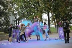 Συμμετέχοντες Holi που οργανώνεται σε Daugavpils Στοκ φωτογραφία με δικαίωμα ελεύθερης χρήσης