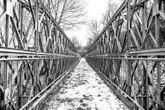 Συμμετρική γέφυρα για πεζούς μετάλλων, εικόνα που κόβεται στα μισά και τα τέταρτα Στοκ φωτογραφία με δικαίωμα ελεύθερης χρήσης