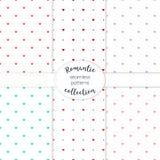Συμμετρική συρμένη χέρι συλλογή καρδιών των άνευ ραφής διανυσματικών σχεδίων Στοκ Εικόνες