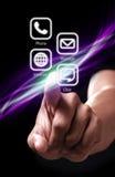 Συμπίεση χεριών το άσπρο κουμπί επιλογής χρωμάτων apps Στοκ Εικόνες