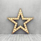 Συμπαγής τοίχος και ξύλινο πάτωμα με το αναδρομικό αστέρι Στοκ Φωτογραφίες