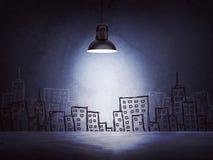 Συμπαγής τοίχος με τα σκίτσα των κτηρίων αριστερός Στοκ εικόνες με δικαίωμα ελεύθερης χρήσης