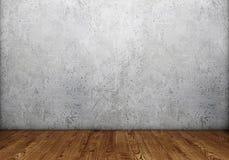 Συμπαγής τοίχος με το ξύλινο πάτωμα Στοκ εικόνες με δικαίωμα ελεύθερης χρήσης