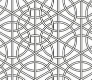 Συμπεπλεγμένοι κύκλοι, άνευ ραφής γεωμετρικά διανυσματικά σχέδια γραμμών Στοκ Εικόνες