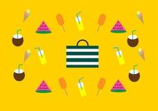 Συμπεριλαμβάνον καρπούζι στοιχείων ημέρας και ταξιδιού παραλιών RGBsummer βάσης, παγωτά, λεμονάδα, καρύδα και μια τσάντα στοκ φωτογραφίες με δικαίωμα ελεύθερης χρήσης