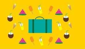 Συμπεριλαμβάνον καρπούζι στοιχείων θερινών ημέρας και ταξιδιού, παγωτά, λεμονάδα, καρύδα και μια βαλίτσα στοκ φωτογραφία με δικαίωμα ελεύθερης χρήσης