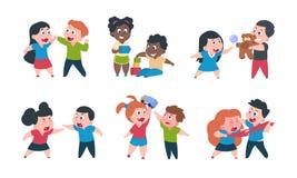 Συμπεριφορά παιδιών Ο αδελφός και η αδελφή κινούμενων σχεδίων παλεύουν το cray παιχνίδι, χαριτωμένοι ευτυχείς χαρακτήρες κοριτσιώ απεικόνιση αποθεμάτων