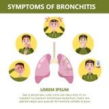 Συμπτώματα βρογχίτιδας infographic Χρόνια αρρώστια Βήχας, κούραση διανυσματική απεικόνιση