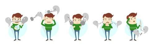 Συμπτώματα κοινού κρύου γρίπης της γρίπης Το άτομο υφίσταται το κρύο, πυρετός Στοκ Εικόνα