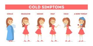 Συμπτώματα κρύου και γρίπης infographic Πυρετός και βήχας ελεύθερη απεικόνιση δικαιώματος