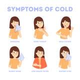 Συμπτώματα κρύου και γρίπης infographic Πυρετός και βήχας διανυσματική απεικόνιση