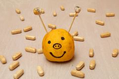 Συμπληρώματα βιταμινών που περιβάλλουν ένα smiley που γίνεται από ένα λεμόνι Στοκ εικόνες με δικαίωμα ελεύθερης χρήσης