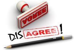 Συμφωνήστε και διαφωνήστε Διορθωμένη εντύπωση σφραγίδων Στοκ εικόνα με δικαίωμα ελεύθερης χρήσης