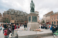 Συνάθροιση μαζικής ενότητας που διοργανώνεται στο Στρασβούργο μετά από τον πρόσφατο τρομοκράτη α Στοκ φωτογραφίες με δικαίωμα ελεύθερης χρήσης