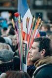 Συνάθροιση μαζικής ενότητας που διοργανώνεται στο Στρασβούργο μετά από τον πρόσφατο τρομοκράτη α Στοκ Εικόνα