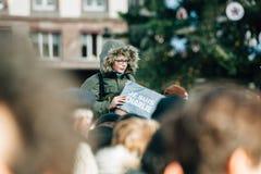 Συνάθροιση μαζικής ενότητας που διοργανώνεται στο Στρασβούργο μετά από τον πρόσφατο τρομοκράτη α Στοκ Φωτογραφίες