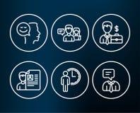 Συνέντευξη, αναμονή και άνθρωποι εργασίας που μιλούν τα εικονίδια Περίπτωση επιχειρηματιών, καλά διάθεση και σημάδια υπηρεσίας υπ Στοκ Φωτογραφίες