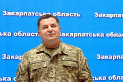Συνέντευξη τύπου του Υπουργού της άμυνας της Ουκρανίας Stepan Po Στοκ Φωτογραφίες