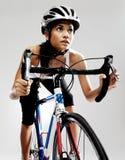 συναγωνιμένος οδική γυναίκα ποδηλάτων Στοκ Εικόνες