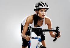 συναγωνιμένος οδική γυναίκα ποδηλάτων Στοκ Φωτογραφίες