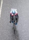 Συναγωνιμένος ποδηλάτες στο κρησφύγετο Finanzplatz Φρανκφούρτη Rund φυλών um Στοκ Εικόνες