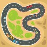 Συναγωνιμένος υπολογιστής και app διανυσματικό υπόβαθρο παιχνιδιών με τα τοπ σπορ αυτοκίνητο άποψης στη διαδρομή φυλών Στοκ φωτογραφία με δικαίωμα ελεύθερης χρήσης