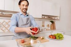 Συναισθηματικός θετικός μάγειρας που προετοιμάζει το υγιές γεύμα στην κουζίνα Στοκ Φωτογραφία
